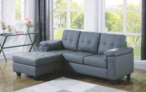 Leather Sectional with Left Side Or Right Side Chaise - Grey Left Side Chaise / Grey