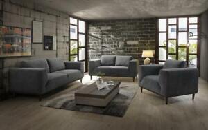 Sofa Set - 3 Piece - Dark Grey 3 pc Set / Dark Grey