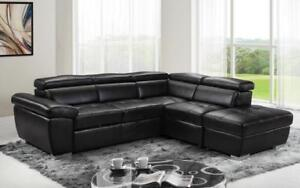 Leather Sectional Sofa with Right Side Chaise - Black Black