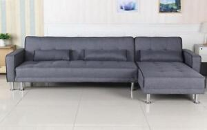 Fabric Sectional Sofa Bed with Reversible Chaise - Grey Grey