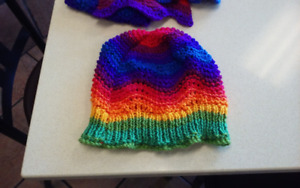 Hand kitted hat and scarf