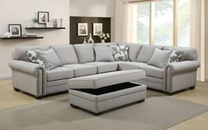 *** BRAND NEW *** HUGE SALE *** SECTIONAL SOFA WITH STORAGE OTTOMAN AND PILLOWS (GREY)***LIMITED STOCK****