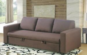Fabric Sofa Bed with Arm Rest - Brown Brown