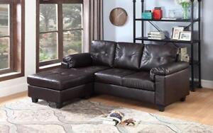 Leather Sectional with Left Side Or Right Side Chaise - Espresso Left Side Chaise / Espresso