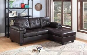Leather Sectional with Left Side Or Right Side Chaise - Espresso Right Side Chaise / Espresso