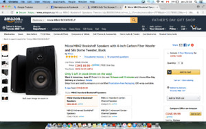 Micca MB42 Bookshelf Speakers with 4-Inch Carbon Fiber Woofer an
