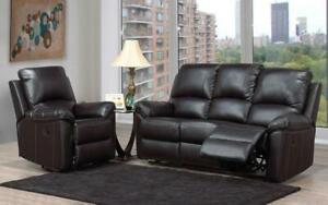 Recliner Set - 3 Piece with Bonded Leather - Black 3 pc Set / Black