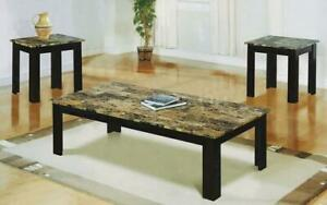 Coffee Table Set with Mable Top - 3 pc - Espresso | Brown Espresso | Brown