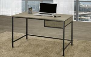 Office Desk with Drawer Metal Legs - Distressed Grey & Black Distressed Grey & Black Canada Preview