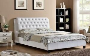 Platform Bed with Bonded Leather - White King / White / Bonded Leather