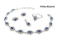 Brand New Beautiful Sterling Silver 925 Set Pendant, Bracelet, Earrings, Ring, Sapphire