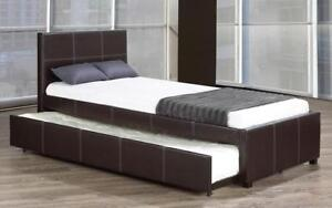 Platform Bed with Leather and Twin Trundle - Black Double / Black / Leather