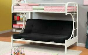 Futon Bunk Bed - Twin over Double with Metal - Black   White   Grey White