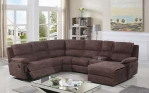 Recliner Corner Sectional - High Tech Fabric [Brown] Brown