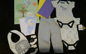 3-6 mon Baby Clothes + card + gift bag with tissue (Unisex)