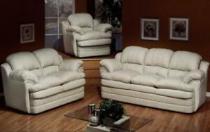 Sofa Set - 3 Piece - White 3 pc Set / White