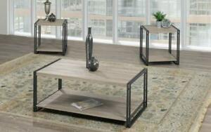 Coffee Table Set with Shelf - 3 pc - Dark Grey | Distressed Grey 3 pc Set / Dark Grey | Distressed Grey