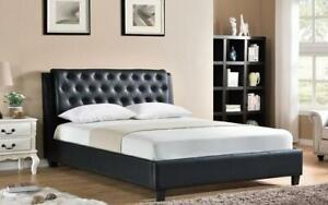 Platform Bed with Bonded Leather - Black King / Black / Bonded Leather