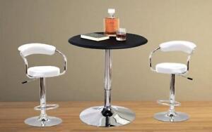 Bar Set with Stools - 3 pc - Black | White | Espresso | Red 3 pc Set / White