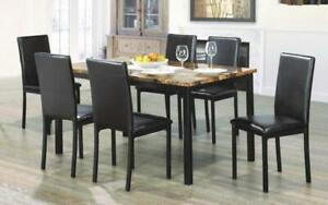 Kitchen Set with Marble Top - 5 pc or 7 pc - Brown   Black 7 pc Set / Brown   Black