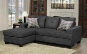 Air Suede Sectional with Reversible Chaise - Platinum Grey Platinum Grey