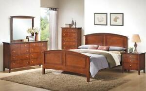 Bedroom Set with Panel Head and Foot Board 8 pc - Dark Whisky King / Dark Whisky