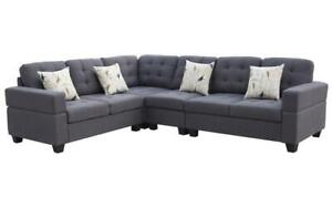 Fabric Sectional with Reversible Loveseat - Blue | Grey Grey
