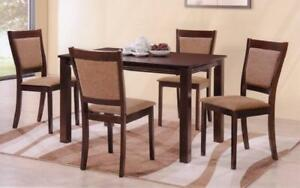 Kitchen Set with Solid Wood - 5 pc - Espresso 5 pc Set - Dark Fabric Chair / Espresso