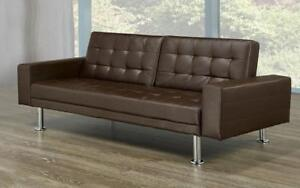 Leather Sofa Bed with Arm Rest - Brown Brown
