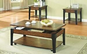 Coffee Table Set with Lift Top & Drawer - 3 pc - Black | Walnut 3 pc Set / Black | Walnut