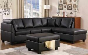 Leather Sectional Set with Chaise and Ottoman - Black Right Side / Black