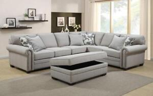 ***BLOWOUT SALE**** SECTIONAL SOFA WITH STORAGE OTTOMAN AND PILLOWS (GREY) **LOWEST PRICES