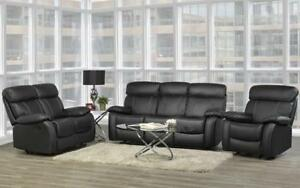 Recliner Set - 3 Piece - Genuine Leather [Black] 3 pc Set / Black