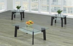 Coffee Table Set with Glass Top with Shelf - 3 pc - Black 3 pc Set / Black