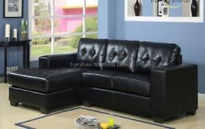 *** BRAND NEW *** HUGE SALE *** SECTIONAL SOFA WITH REVERSIBLE CHAISE (BLACK)***LIMITED STOCK****