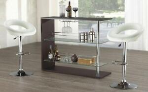 Bar Set with Stools - 3 pc - White | Black | Espresso 3 pc Set / White