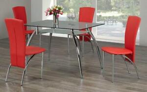 Kitchen Set with Glass Top - 5 pc - Red | White | Black 5 pc Set / Red