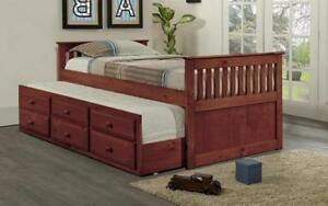 ***BLOWOUT SALE**** TRUNDLE BED WITH DRAWERS - CHERRY **LOWEST PRICES