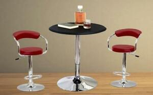 Bar Set with Stools - 3 pc - Black   White   Espresso   Red 3 pc Set / Red