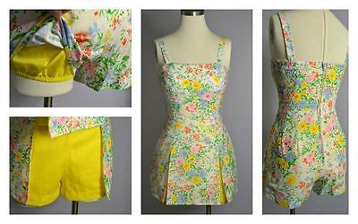 vintage Gabar floral romper swimsuit style playsuit bloomers 10 or s/m