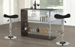 Bar Set with Stools - 3 pc - Black 3 pc Set / Black