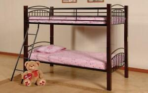 Bunk Bed - Twin over Double with Metal and Wood - Black & Espresso Black | Espresso