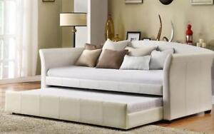 Day Bed with Twin Trundle - White Twin / White / Leather