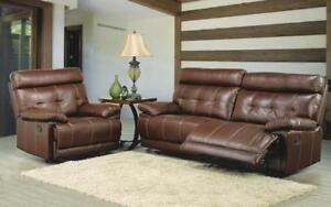 Recliner Set - 3 Piece with Bonded Leather - Brown 3 pc Set / Brown