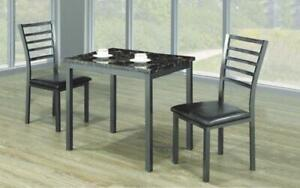 Kitchen Set with Marble Top - 3 pc - Black | Grey 3 pc Set / Black | Grey