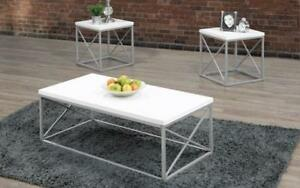 Coffee Table Set - 3 pc - White | Grey 3 pc Set / White | Grey