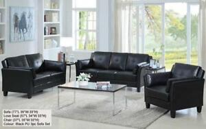 *** BRAND NEW *** HUGE SALE ***3-PIECE SOFA SET - (BLACK) SLEEK DESIGN***LIMITED STOCK****