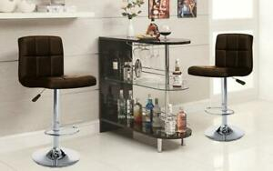 Bar Set with Stools - 3 pc - Espresso | Black | White | Red 3 pc Set / Espresso