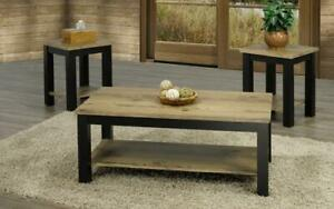 Coffee Table Set with Shelf - 3 pc - Espresso | Distressed Oak Espresso | Distressed Oak