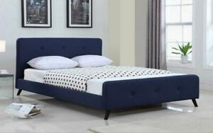 Platform Bed with Button-Tufted Fabric - Blue Queen / Blue / Linen Style Fabric